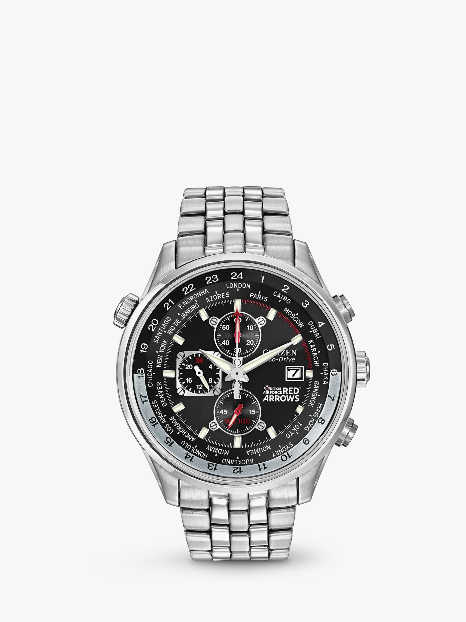 Citizen Citizen CA0080-54E Men's Red Arrows Chronograph Mesh Bracelet Strap Watch, Silver/Black