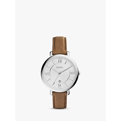 Fossil ES3708 Women's Jacqueline Date Leather Strap Watch, Brown/White