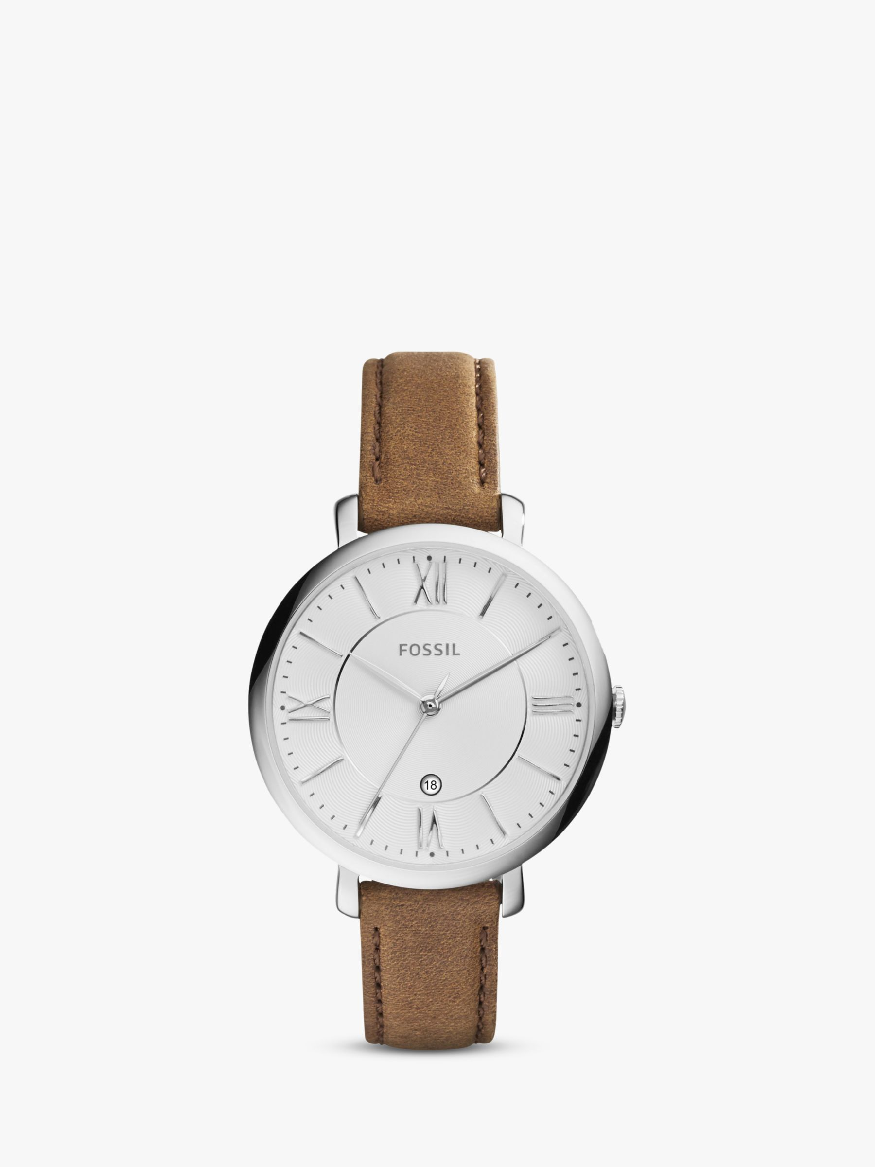 Fossil Fossil ES3708 Women's Jacqueline Date Leather Strap Watch, Brown/White