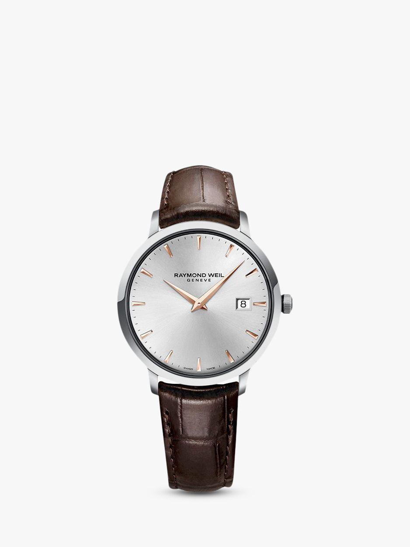 Raymond Weil Raymond Weil 5485-SL5-65001 Men's Toccata Leather Strap Watch, Brown/Silver