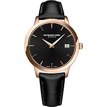 Buy Raymond Weil 5388-PC5-20001 Women's Toccata Date Leather Strap Watch, Black Online at johnlewis.com