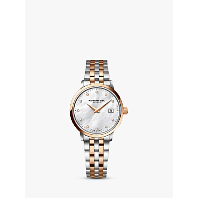 Raymond Weil 5388-SP5-97081 Women's 11 Diamonds Mother Of Pearl Two Tone Bracelet Strap Watch, Rose Gold/Silver