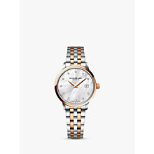 Buy Raymond Weil 5388-SP5-97081 Women's 11 Diamonds Mother Of Pearl Two Tone Bracelet Strap Watch, Rose Gold/Silver Online at johnlewis.com