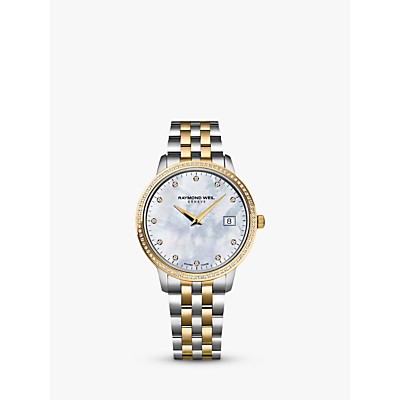Raymond Weil 5388-SPS-97081 Women's Toccata 91 Diamonds Two Tone Bracelet Strap Watch, Silver/Gold
