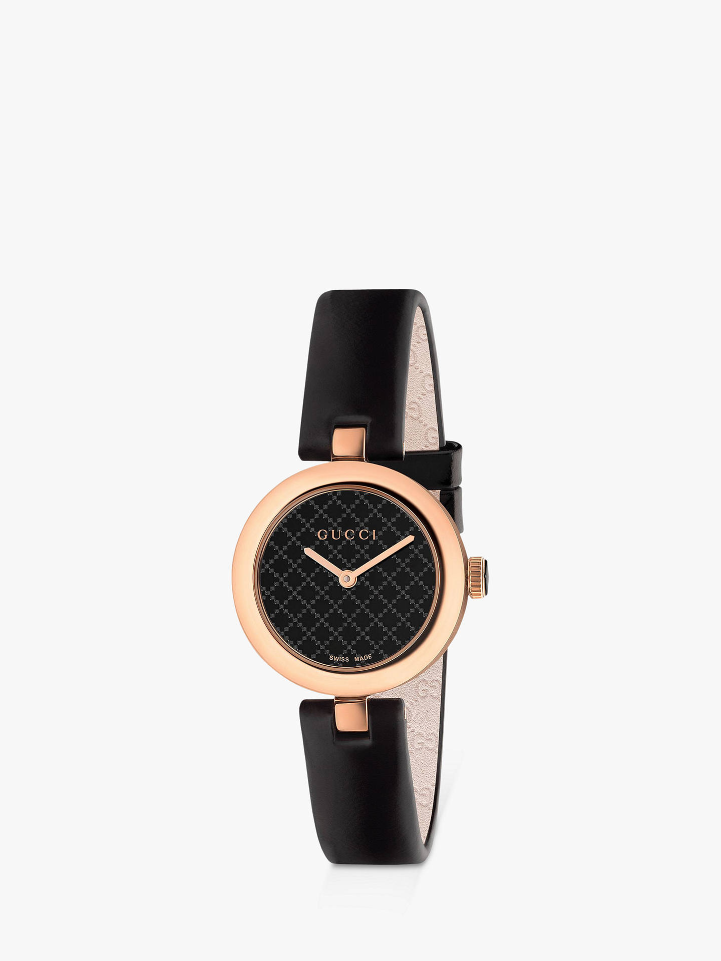 711f8f331 Buy Gucci YA141501 Women's Diamantissima Leather Strap Watch, Black Online  at johnlewis. ...