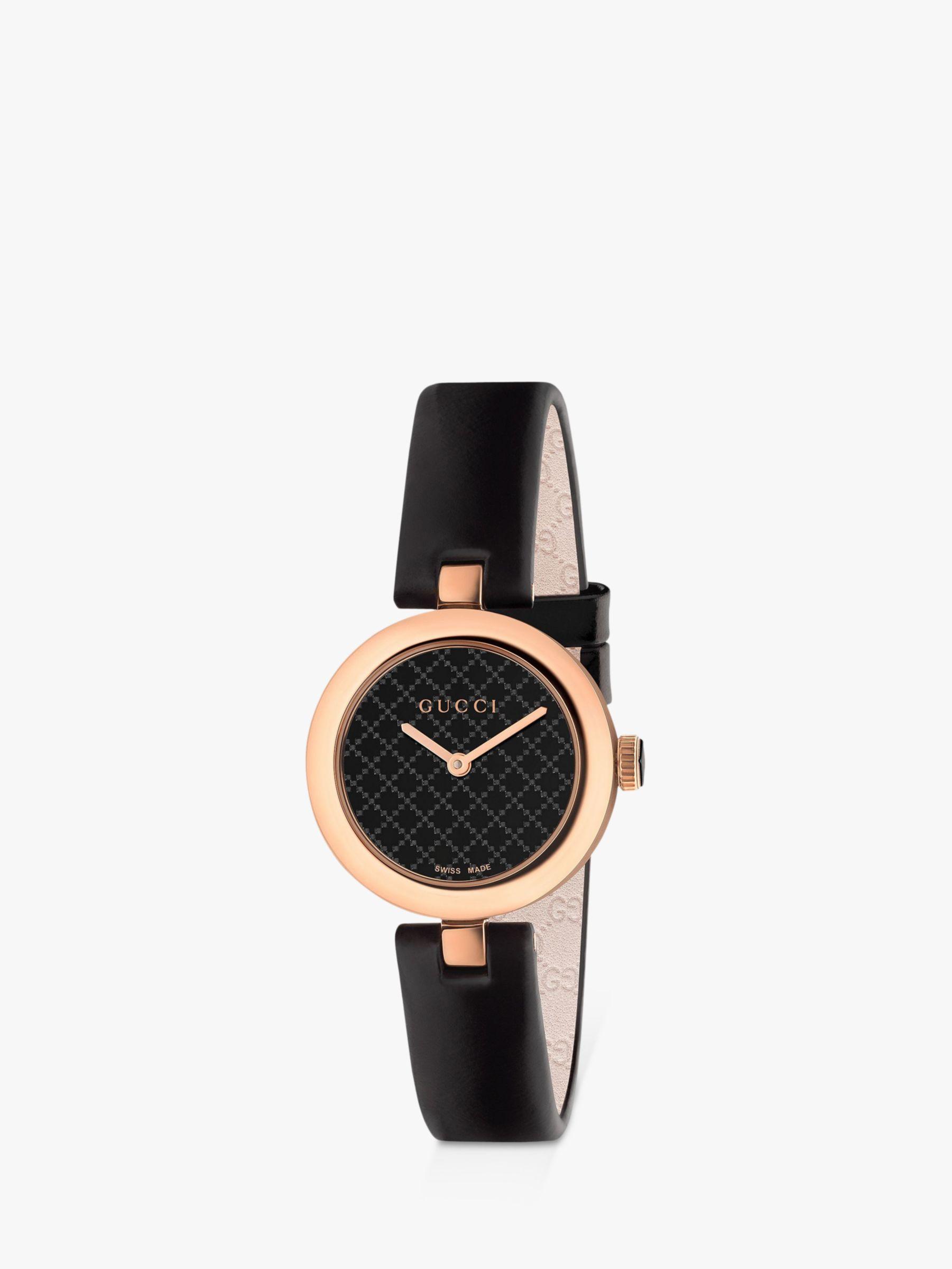 Gucci Gucci YA141501 Women's Diamantissima Leather Strap Watch, Black