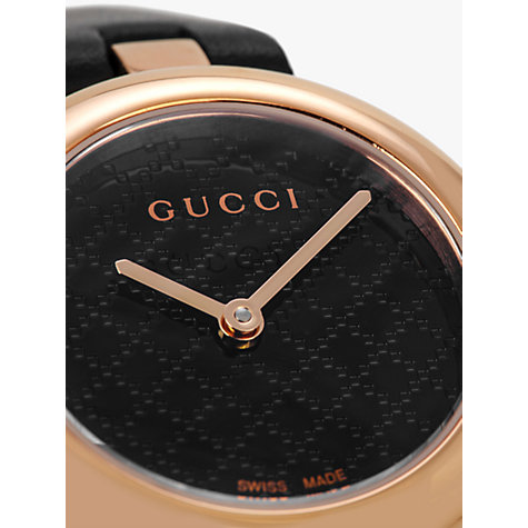 Buy Gucci YA141501 Women's Diamantissima Leather Strap Watch, Black Online at johnlewis.com
