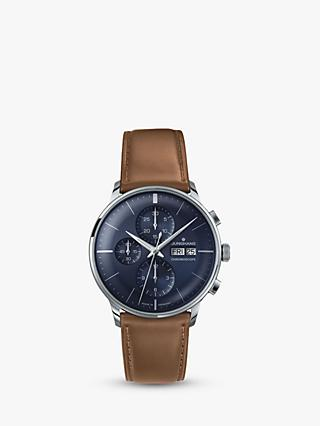 Junghans 027/4526.01 Men's Meister Chronoscope Chronograph Leather Strap Watch, Tan/Navy