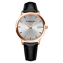 Buy Raymond Weil 5388-PC5-65001 Women's Toccata Date Leather Strap Watch, Black/Silver Online at johnlewis.com