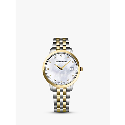 Raymond Weil 5388-STP-97081 Women's Toccata 11 Diamonds Two Tone Bracelet Strap Watch, Silver/Gold