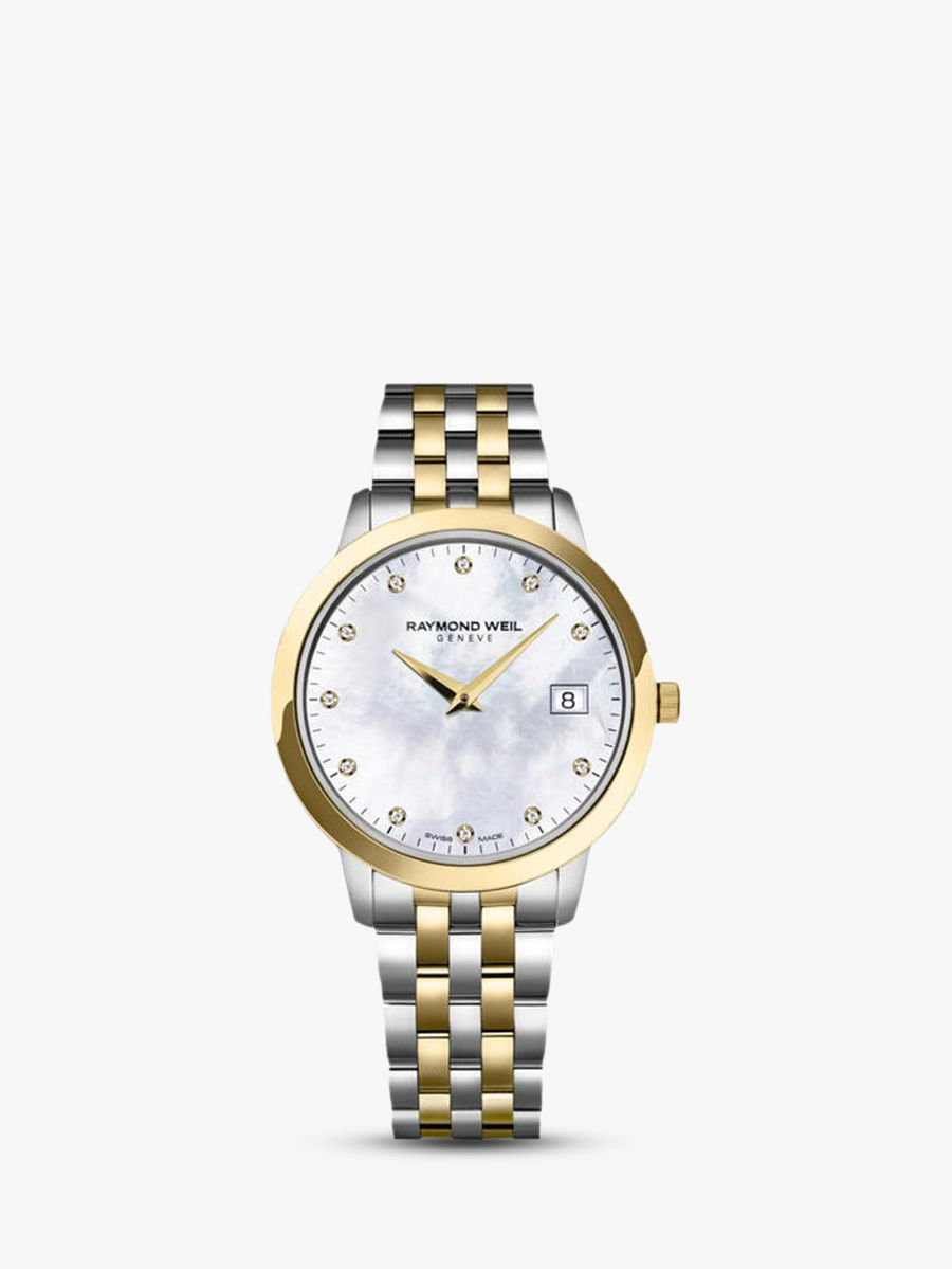 Raymond Weil Raymond Weil 5388-STP-97081 Women's Toccata 11 Diamonds Two Tone Bracelet Strap Watch, Silver/Gold