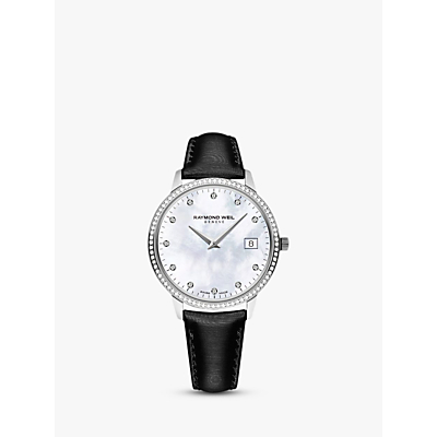 Raymond Weil 5388-SLS-97081 Women's Toccata 91 Diamonds Leather Strap Watch, Black
