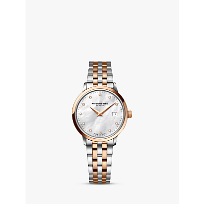 Raymond Weil 5988-SP5-97081 Women's Toccata Diamond Date Bracelet Strap Watch, Silver/Rose Gold
