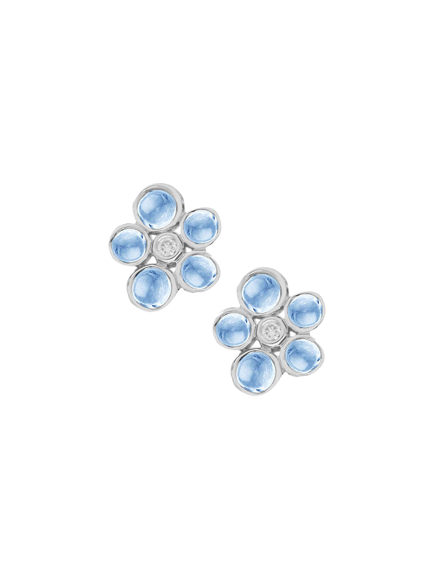 BuyLondon Road 9ct Gold Cabochon Diamond Stud Earrings, Blue Topaz Online at johnlewis.com