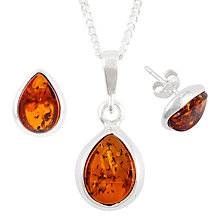 Buy Be-Jewelled Sterling Silver Tear Drop Amber Pendant Necklace And Earrings Gift Set, Amber Online at johnlewis.com