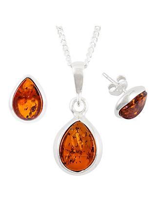 Be-Jewelled Sterling Silver Tear Drop Amber Pendant Necklace And Earrings Gift Set, Amber