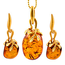 Buy Be-Jewelled Gold Plated Sterling Silver Hand Cut Pebble Amber Pendant Necklace And Earrings Gift Set, Amber Online at johnlewis.com