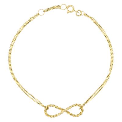 London Road 9ct Gold Infinity Bracelet, Gold