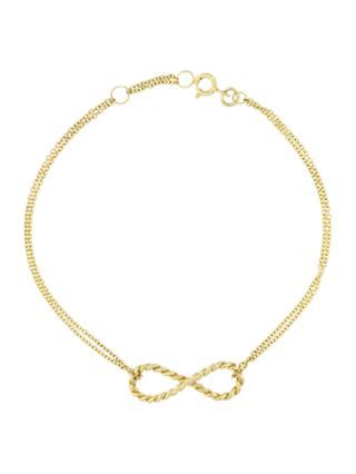 London Road 9ct Gold Infinity Bracelet, Gold