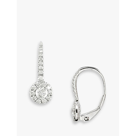 Buy EWA 18ct White Gold Diamond Cluster Drop Earrings, White Gold Online at johnlewis.com