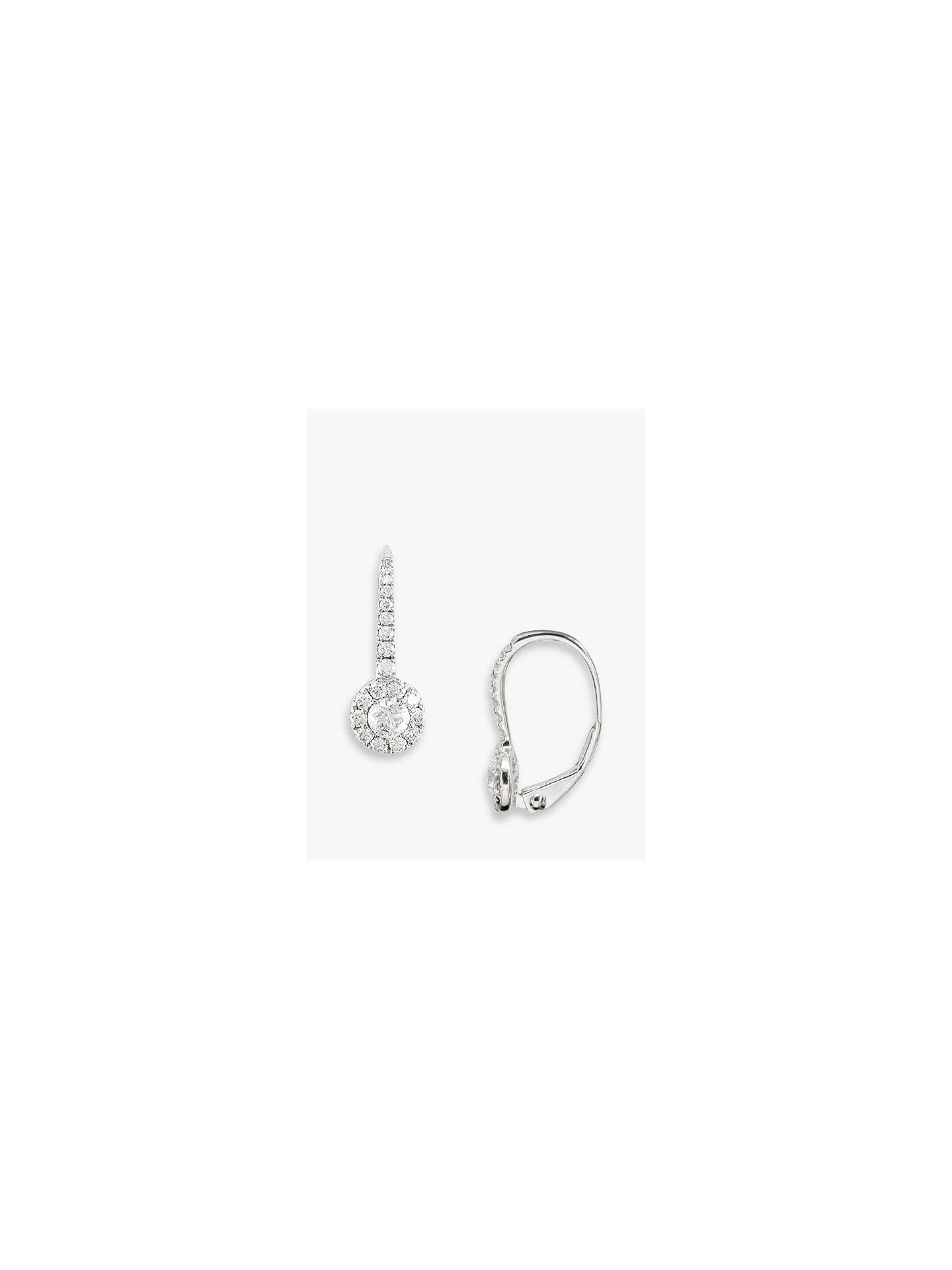 Buy E.W Adams 18ct White Gold Diamond Cluster Drop Earrings, White Gold Online at johnlewis.com