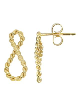 London Road 9ct Gold Infinity Earrings, Gold