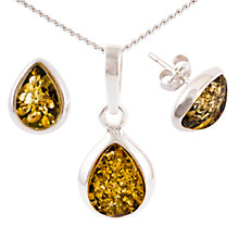 Buy Be-Jewelled Sterling Silver Tear Drop Green Amber Pendant Necklace And Earrings Gift Set, Amber Online at johnlewis.com