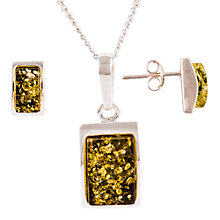 Buy Be-Jewelled Sterling Silver Oblong Green Amber Pendant Necklace And Earrings Gift Set, Amber Online at johnlewis.com