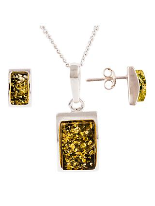 Be-Jewelled Sterling Silver Oblong Green Amber Pendant Necklace And Earrings Gift Set, Amber