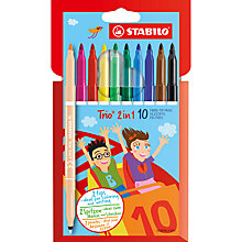 Buy Stabilo Trio 2 in 1 Double Ended Coloured Pens, Pack of 10 Online at johnlewis.com