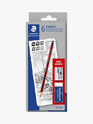 STAEDTLER Tradition Sketching Pencils with Eraser & Sharpener, Pack of 6