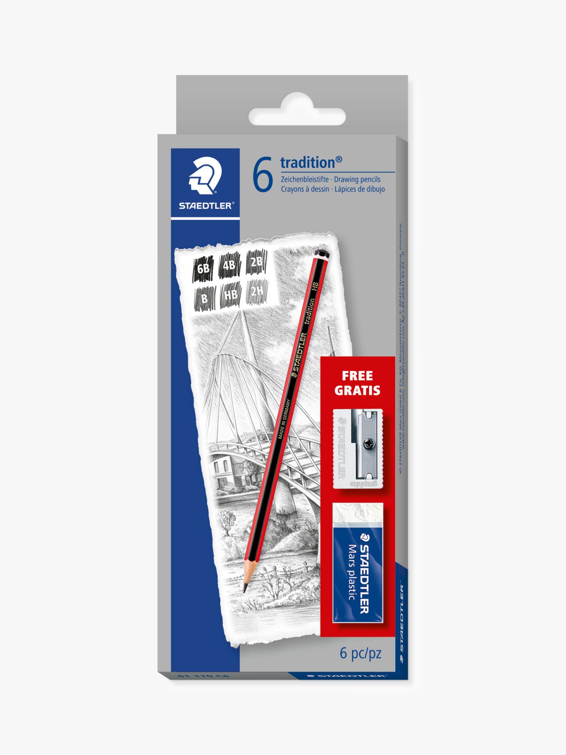 Staedtler STAEDTLER Tradition Sketching Pencils with Eraser & Sharpener, Pack of 6