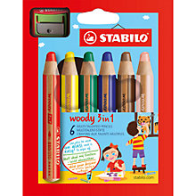 Buy Stabilo Woody 3 in 1 Coloured Pencils, Pack of 6, Multi Online at johnlewis.com