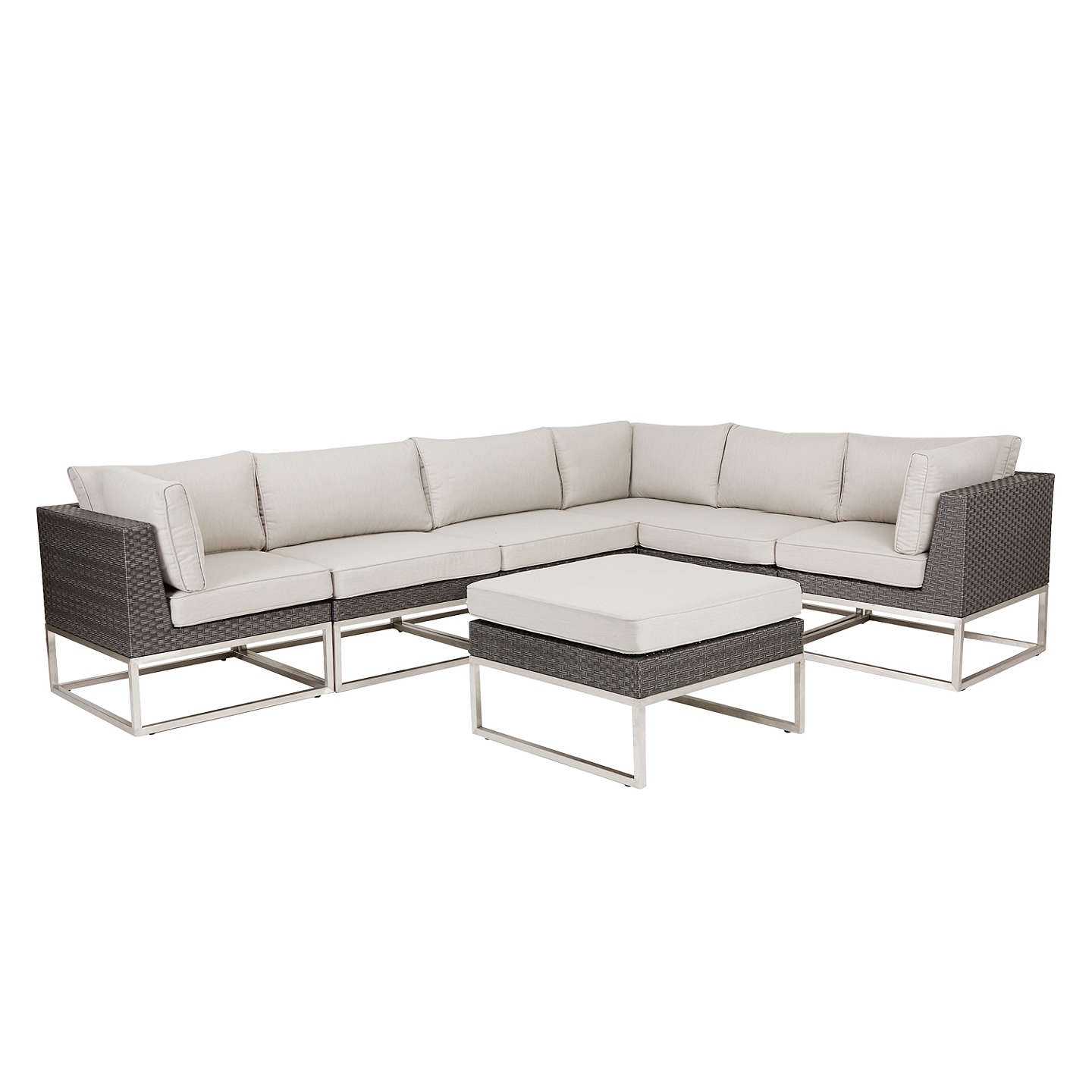 BuyJohn Lewis Garda 7 Seater Corner Garden Sofa And Footstool Set Online At  Johnlewis.com ...