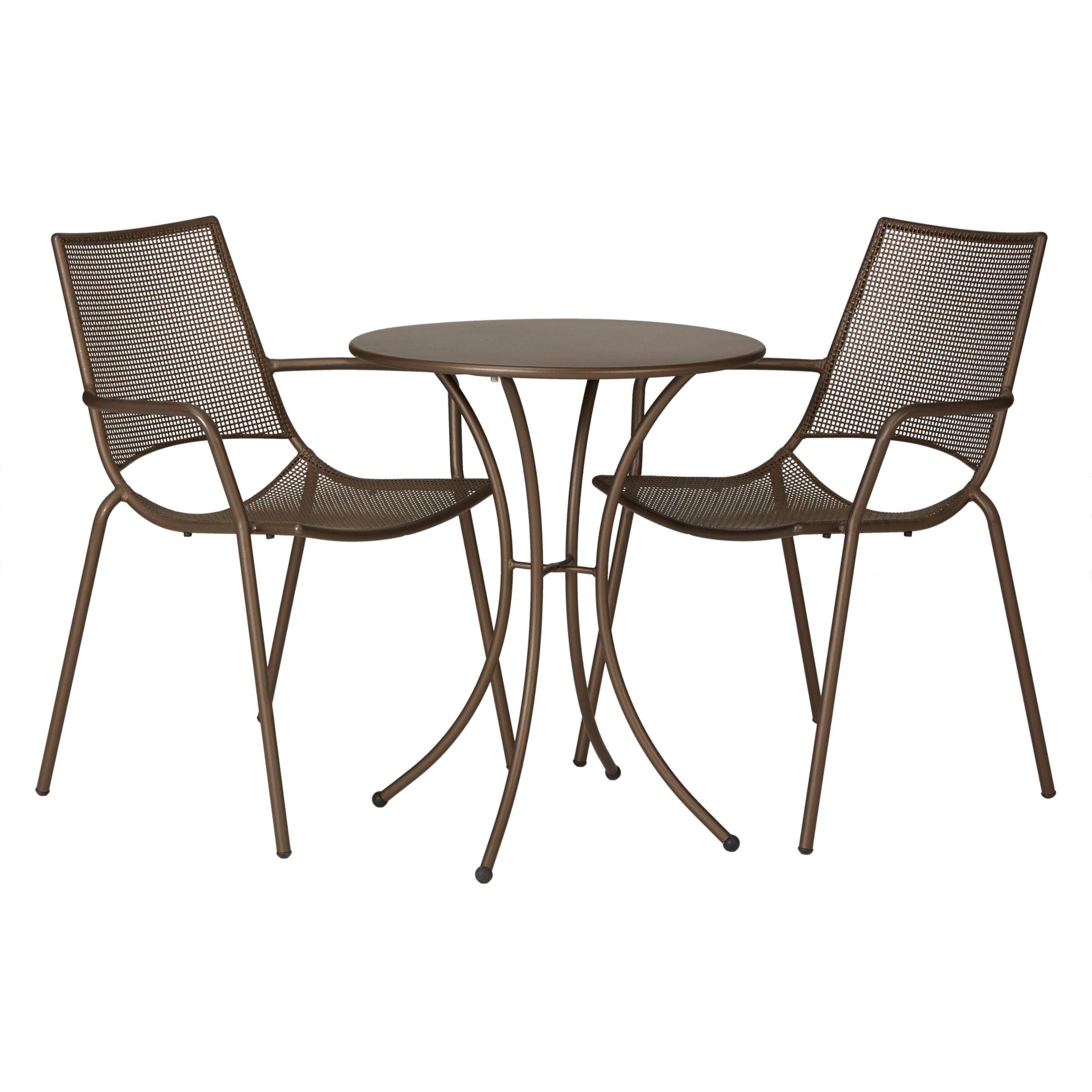 EMU Ala Mesh Garden Table and Chairs Bistro Set, Bronze