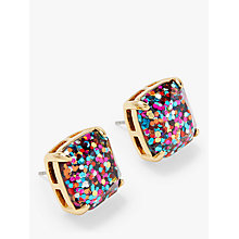 Buy kate spade new york Small Square Glitter Stud Earrings, Gold/Multi Online at johnlewis.com