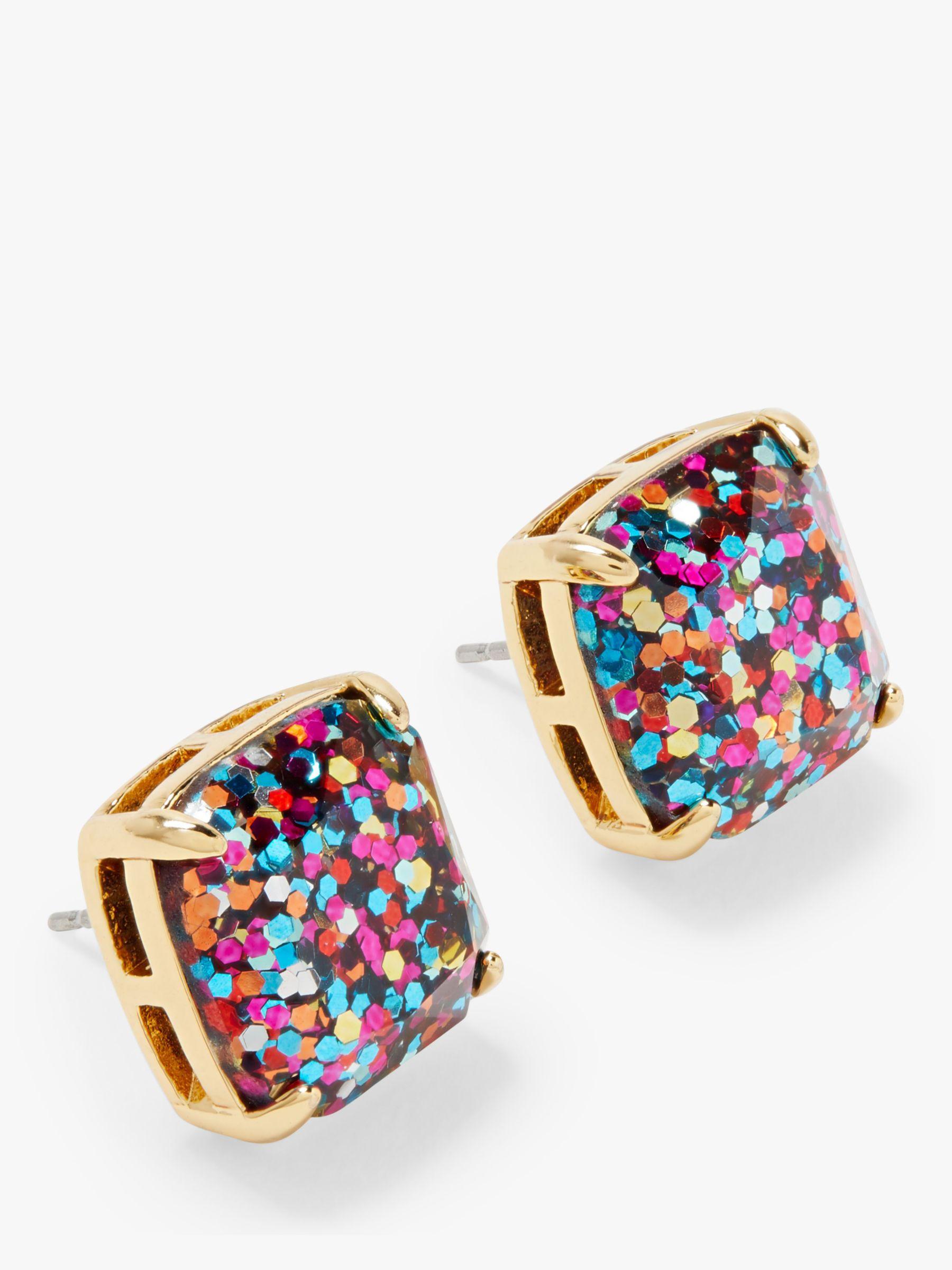 kate spade new york kate spade new york Small Square Glitter Stud Earrings, Gold/Multi