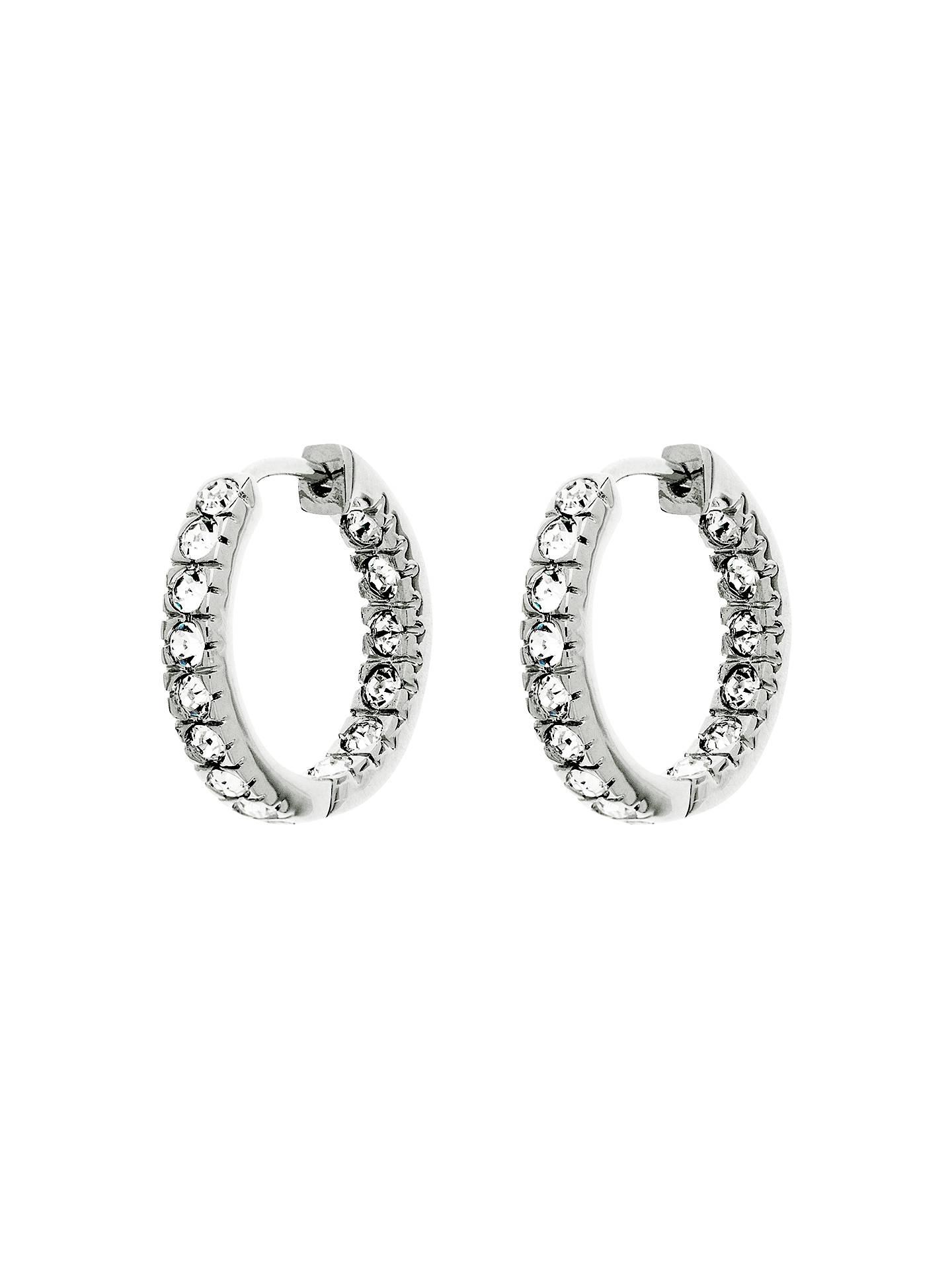 Finesse Rhodium Plated Swarovski Crystal Hoop Earrings Silver Online At Johnlewis