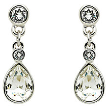 Buy Cachet Rhodium Plated Swarovski Crystal Pear Stone Drop Earrings, Silver Online at johnlewis.com