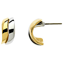 Buy Finesse Gold Rhodium Plated Two Tone Wave Earrings, Silver Online at johnlewis.com
