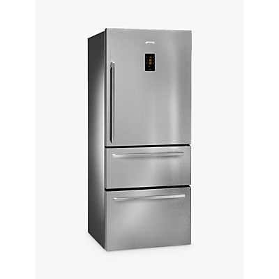 Image of Smeg FT41BXE 3-Door American Style Fridge Freezer, A+ Energy Rating, 75cm Wide, Stainless Steel