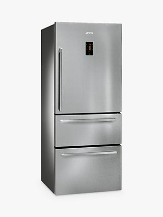 Smeg FT41BXE 3-Door American Style Fridge Freezer, A+ Energy Rating, 75cm Wide, Stainless Steel