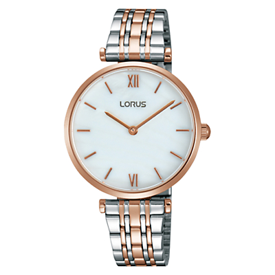 Lorus RRW88EX9 Women's Two Tone Bracelet Strap Watch, Silver/Rose Gold