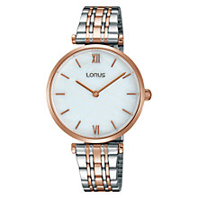 Buy Lorus RRW88EX9 Women's Two Tone Bracelet Strap Watch, Silver/Rose Gold Online at johnlewis.com