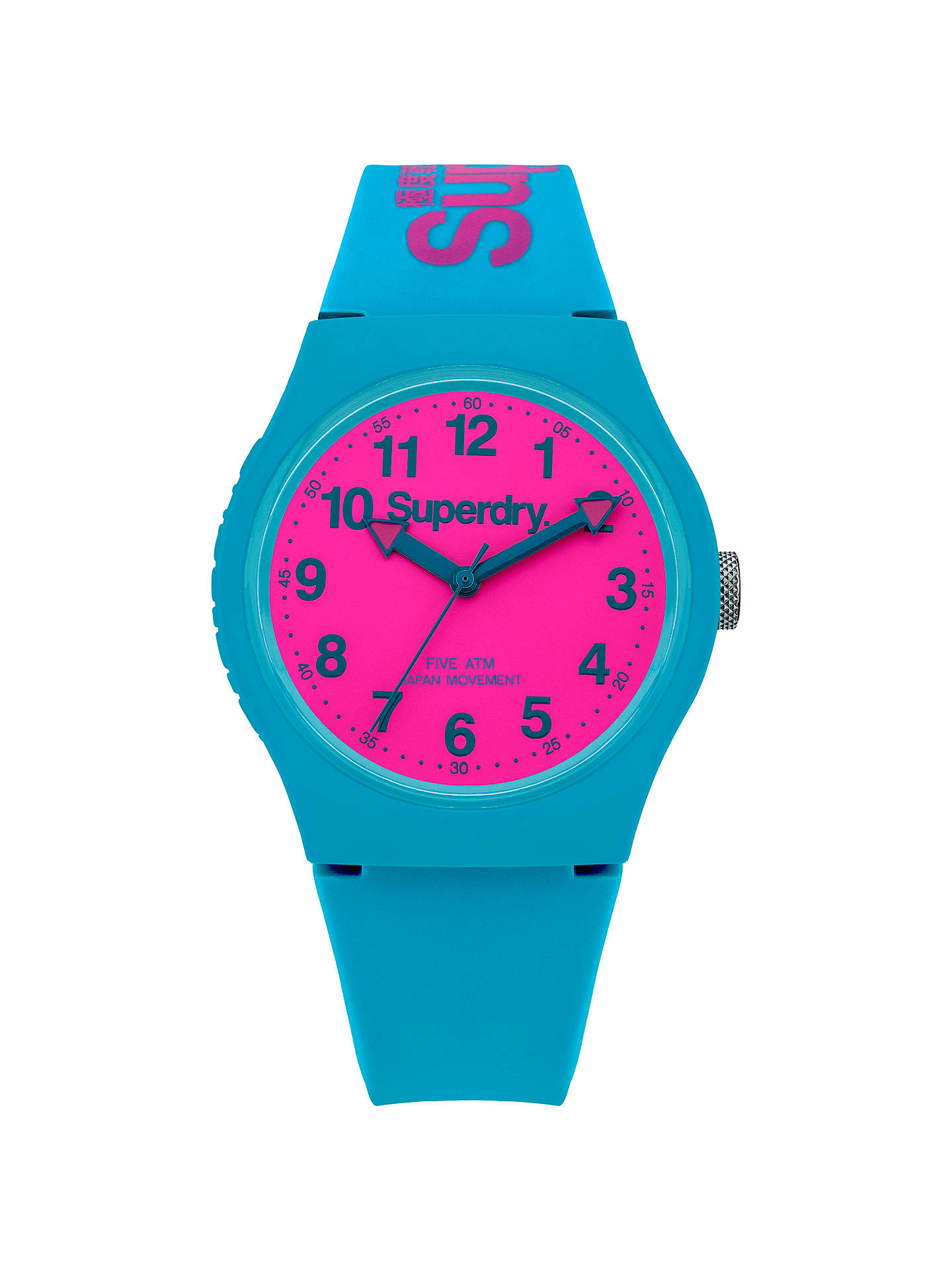 BuySuperdry SYG164AUP Unisex Urban Silicone Strap Watch, Teal/Hot Pink Online at johnlewis.com
