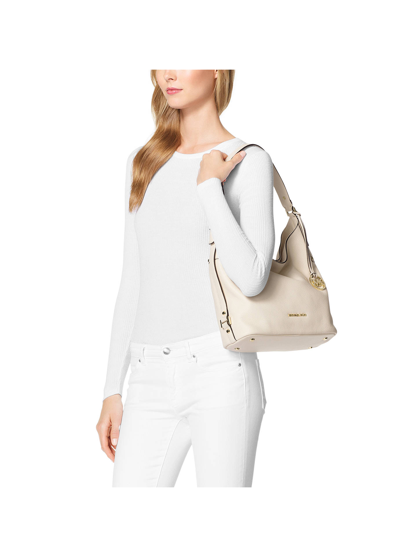 587a2c7e512ac6 Buy MICHAEL Michael Kors Bedford Belted Large Leather Shoulder Bag, Cream  Online at johnlewis.