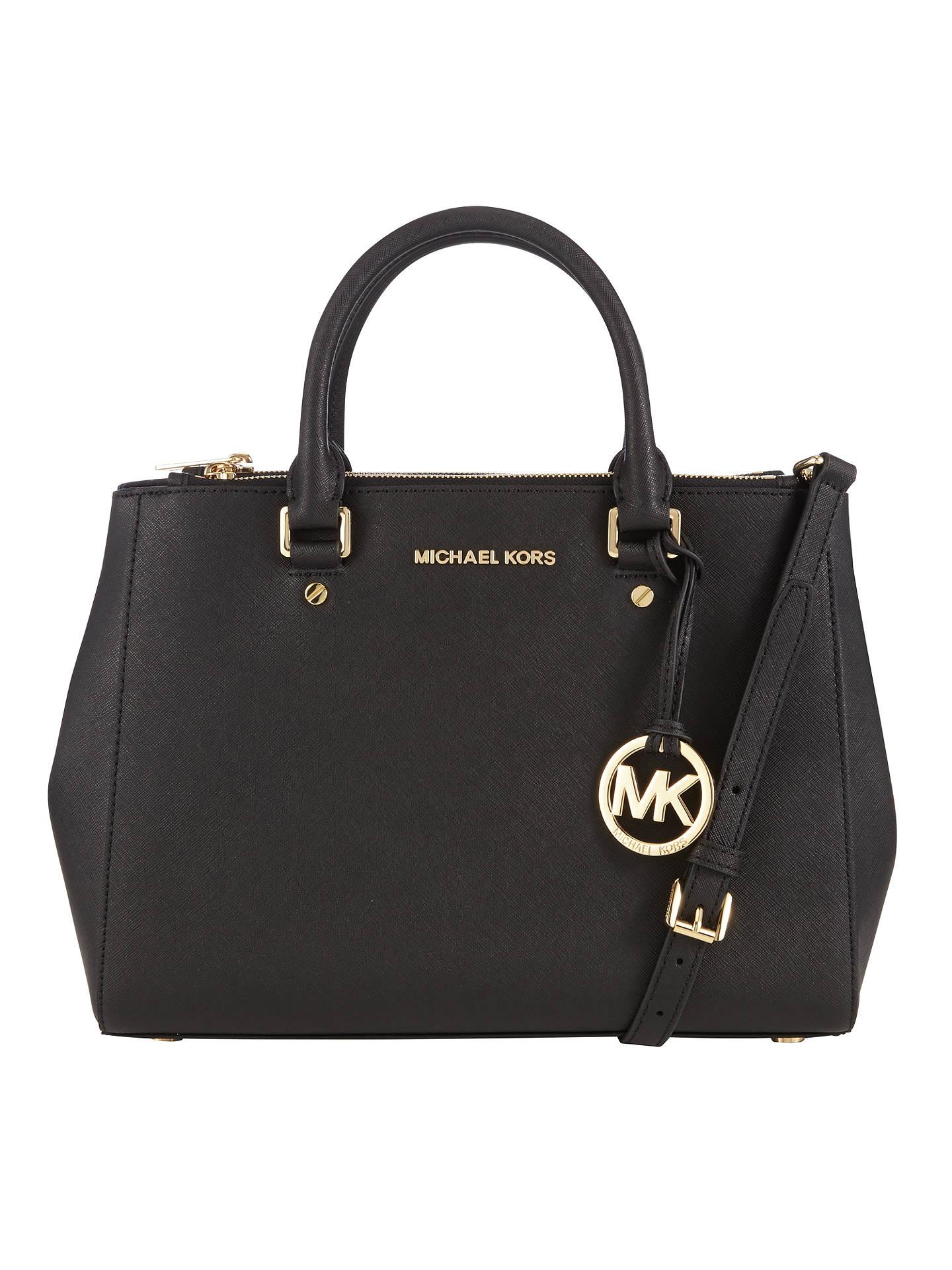 443561076a21 Buy MICHAEL Michael Kors Sutton Medium Leather Satchel Bag, Black Online at  johnlewis.com ...