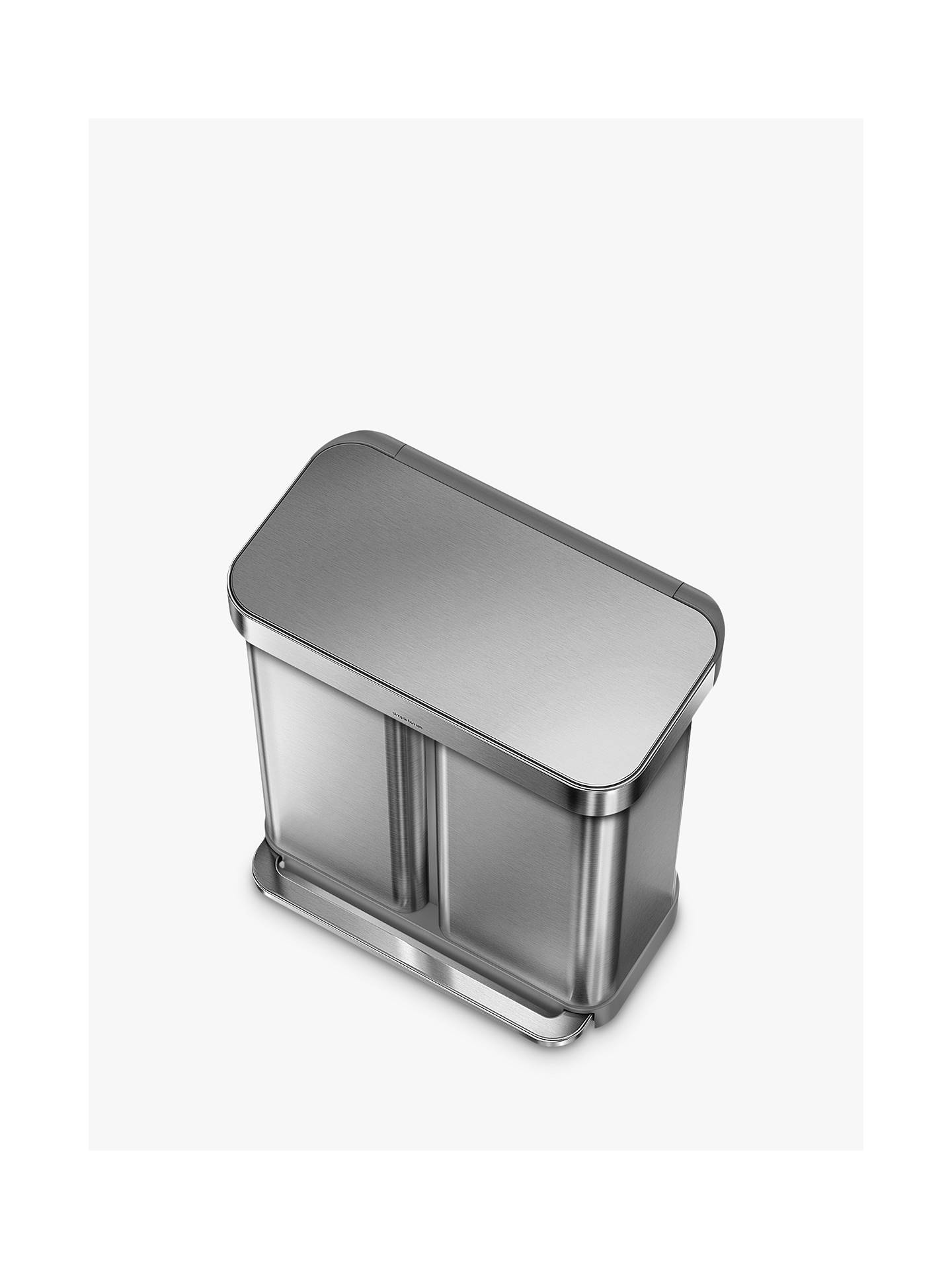 Buy simplehuman Dual Compartment Fingerprint Proof Liner Pocket Recycling Bin, 58L, Stainless Steel Online at johnlewis.com