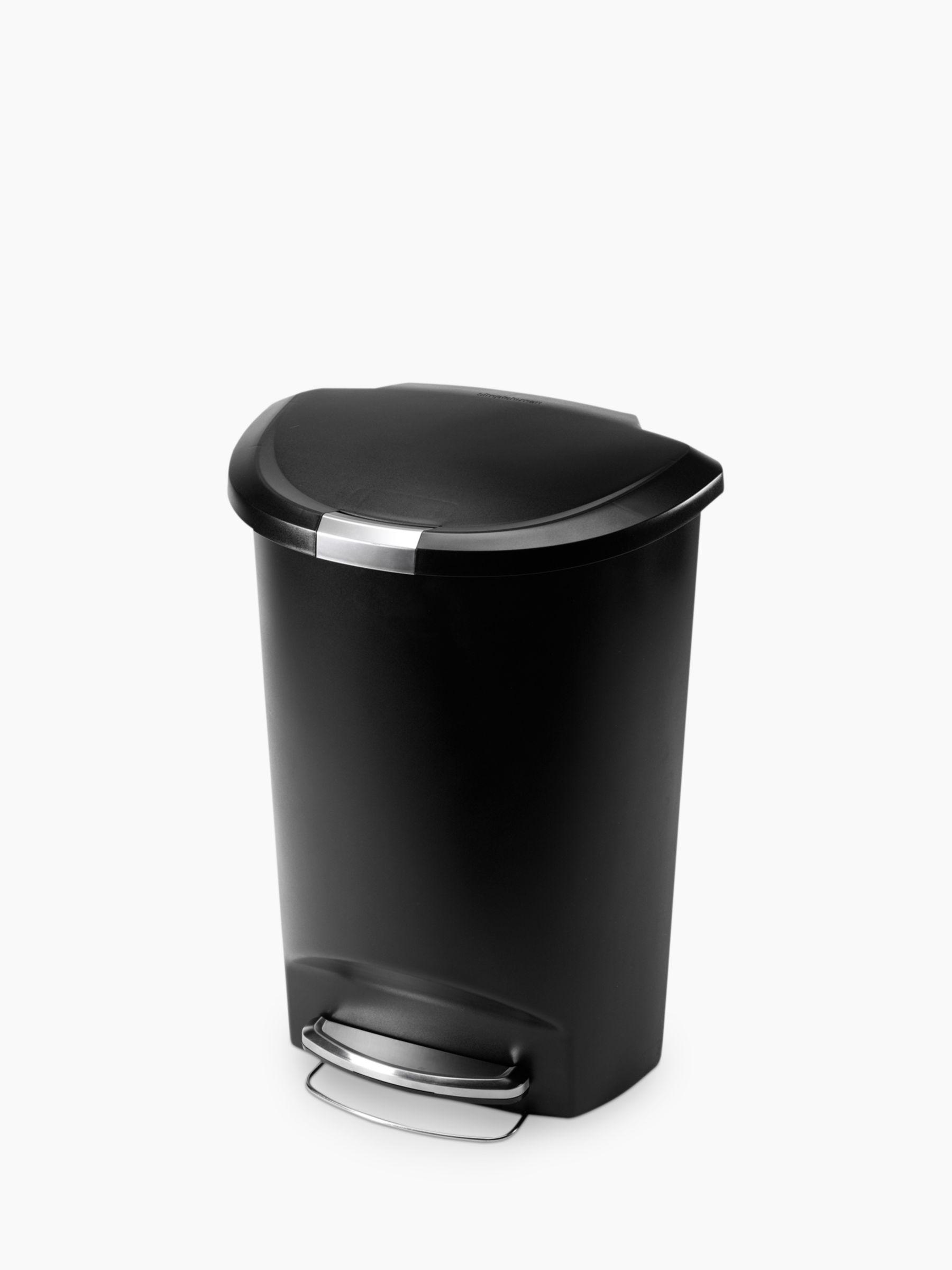 Simplehuman simplehuman Semi-Round Pedal Bin, Black Plastic, 50L