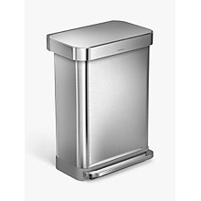 Buy simplehuman Liner Pocket Pedal Bin, Brushed Steel Online at johnlewis.com